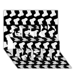 Black And White Cute Baby Socks Illustration Pattern Get Well 3D Greeting Card (7x5)