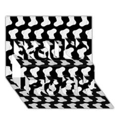Black And White Cute Baby Socks Illustration Pattern You Rock 3d Greeting Card (7x5)