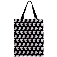 Black And White Cute Baby Socks Illustration Pattern Zipper Classic Tote Bags