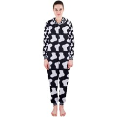 Black And White Cute Baby Socks Illustration Pattern Hooded Jumpsuit (Ladies)