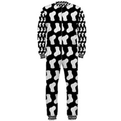 Black And White Cute Baby Socks Illustration Pattern OnePiece Jumpsuit (Men)