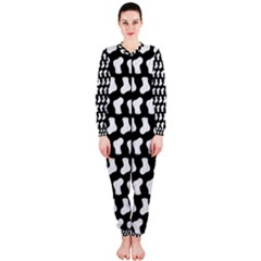 Black And White Cute Baby Socks Illustration Pattern OnePiece Jumpsuit (Ladies)