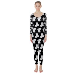 Black And White Cute Baby Socks Illustration Pattern Long Sleeve Catsuit