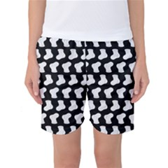 Black And White Cute Baby Socks Illustration Pattern Women s Basketball Shorts