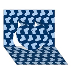 Blue Cute Baby Socks Illustration Pattern Heart 3D Greeting Card (7x5)