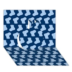Blue Cute Baby Socks Illustration Pattern Apple 3D Greeting Card (7x5)