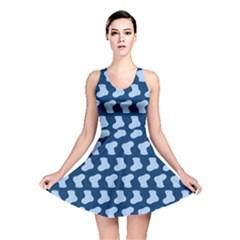 Blue Cute Baby Socks Illustration Pattern Reversible Skater Dresses