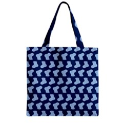 Blue Cute Baby Socks Illustration Pattern Zipper Grocery Tote Bags