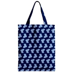 Blue Cute Baby Socks Illustration Pattern Zipper Classic Tote Bags