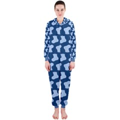Blue Cute Baby Socks Illustration Pattern Hooded Jumpsuit (Ladies)