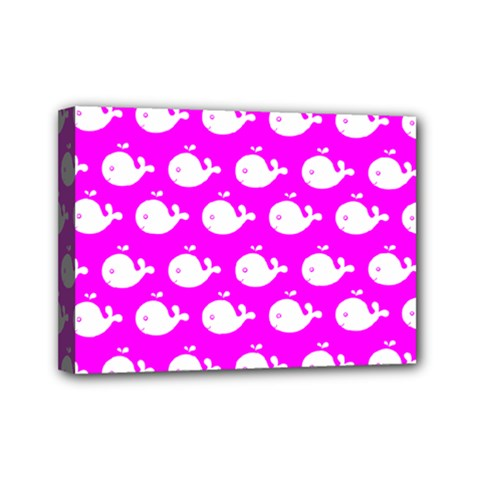 Cute Whale Illustration Pattern Mini Canvas 7  X 5