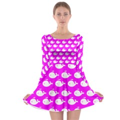 Cute Whale Illustration Pattern Long Sleeve Skater Dress