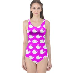 Cute Whale Illustration Pattern Women s One Piece Swimsuits