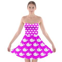 Cute Whale Illustration Pattern Strapless Bra Top Dress