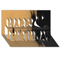Sunset Black Happy Birthday 3d Greeting Card (8x4)
