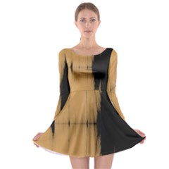Sunset Black Long Sleeve Skater Dress