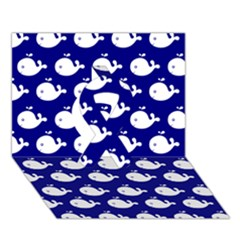 Cute Whale Illustration Pattern Ribbon 3d Greeting Card (7x5)