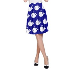 Cute Whale Illustration Pattern A-Line Skirts