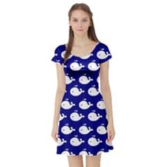 Cute Whale Illustration Pattern Short Sleeve Skater Dresses