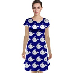 Cute Whale Illustration Pattern Cap Sleeve Nightdresses