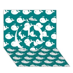 Cute Whale Illustration Pattern Peace Sign 3D Greeting Card (7x5)