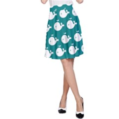 Cute Whale Illustration Pattern A Line Skirts