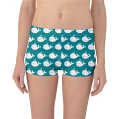 Cute Whale Illustration Pattern Reversible Boyleg Bikini Bottoms
