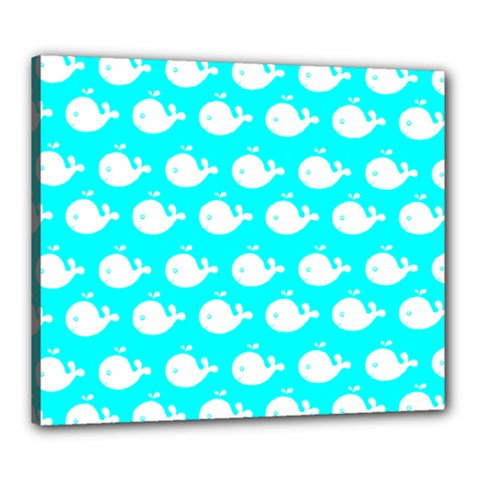 Cute Whale Illustration Pattern Canvas 24  X 20