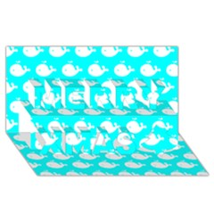 Cute Whale Illustration Pattern Merry Xmas 3D Greeting Card (8x4)
