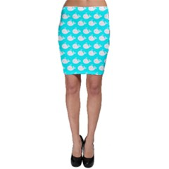 Cute Whale Illustration Pattern Bodycon Skirts
