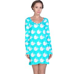 Cute Whale Illustration Pattern Long Sleeve Nightdresses