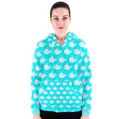 Cute Whale Illustration Pattern Women s Zipper Hoodies