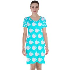 Cute Whale Illustration Pattern Short Sleeve Nightdresses