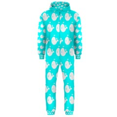 Cute Whale Illustration Pattern Hooded Jumpsuit (Men)