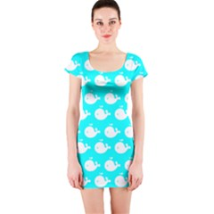 Cute Whale Illustration Pattern Short Sleeve Bodycon Dresses