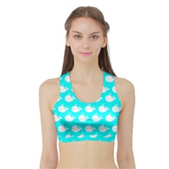 Cute Whale Illustration Pattern Women s Sports Bra with Border