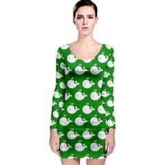 Cute Whale Illustration Pattern Long Sleeve Bodycon Dresses