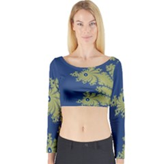 Blue and Green Design Long Sleeve Crop Top