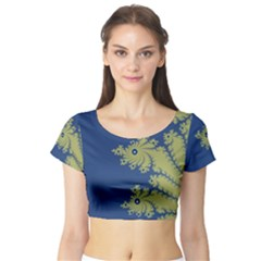 Blue and Green Design Short Sleeve Crop Top