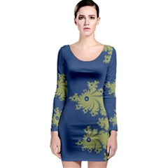 Blue and Green Design Long Sleeve Bodycon Dresses