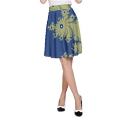 Blue and Green Design A-Line Skirts