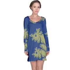 Blue and Green Design Long Sleeve Nightdresses