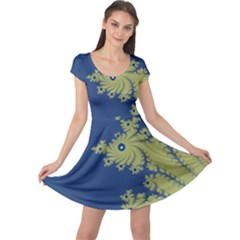 Blue And Green Design Cap Sleeve Dresses