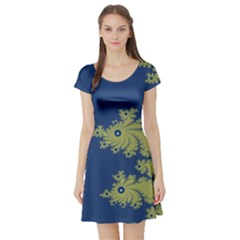 Blue And Green Design Short Sleeve Skater Dresses