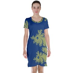 Blue And Green Design Short Sleeve Nightdresses