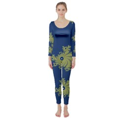 Blue And Green Design Long Sleeve Catsuit
