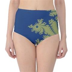 Blue and Green Design High-Waist Bikini Bottoms