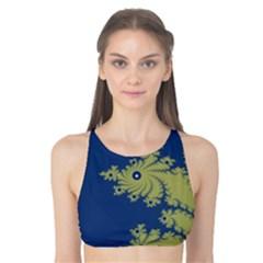 Blue and Green Design Tank Bikini Top