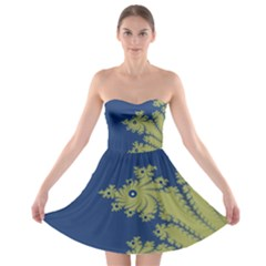 Blue And Green Design Strapless Bra Top Dress