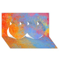 Hot And Cold Twin Hearts 3d Greeting Card (8x4)